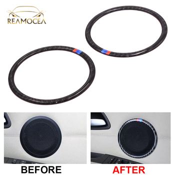 Reamocea 2X Carbon Fiber Car Door Speaker Decoration Ring Trim Sticker Cover fit for BMW 3 Series E90 2005-2012 X1 E84 2012-2015 image