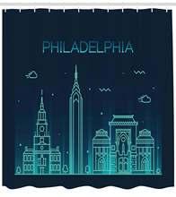 Занавеска для душа с изображением Филадельфии фоновая занавеска