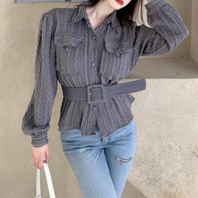 Ezgaga Bandage Shirts Women Elegant Chic Turn-Down Collar Pockets Solid Long Sleeve Korean Tops Office Lady Fashion Blusas 4
