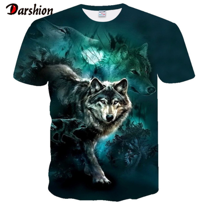 Newest Wolf 3D Print Animal Cool Funny T-Shirt Men Short Sleeve Summer Tops Tee Shirt T Shirt Male Fashion T-shirt Male Plus 4XL