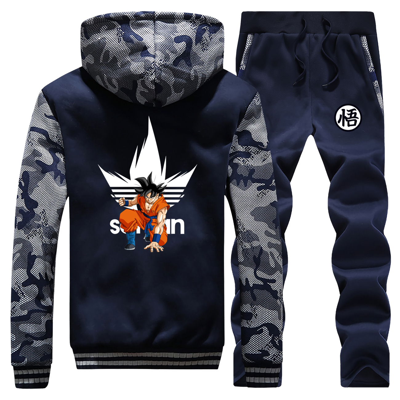 DragonBall Z Thick Camo Hoodies+Sweatpants Suit Mens Anime Dragon Ball Z Sweatshirt Winter Warm Jacket Men Japanese Tracksuit