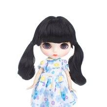 Muziwig высокое качество Термостойкое волокно Мода черный цвет Blyth кукла парики 9-10 дюймов для куклы Blyth