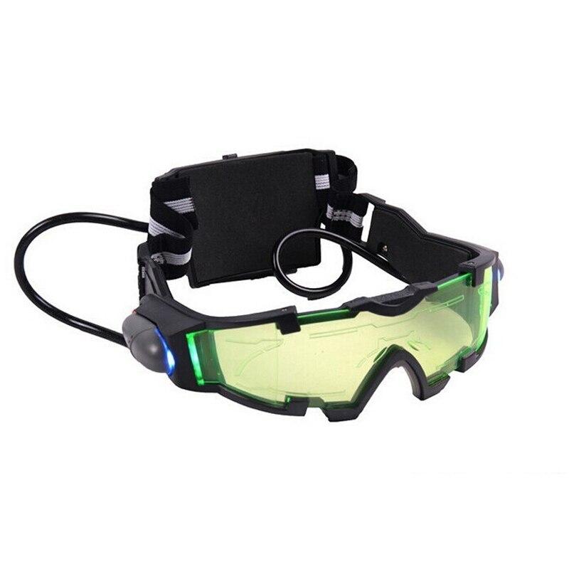 Vision nocturne lunettes vert teinté lentille LED lumières en plein air jeu accessoire cadeau hommes vision nocturne