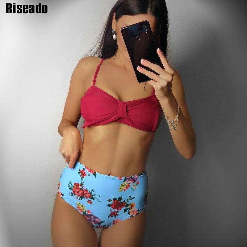 Riseado Sexy Bow Bikinis Strap Bandeau Swimwear Women High Waisted Swimsuits Floral Print Summer Beach Wear BathersBikini Set   -