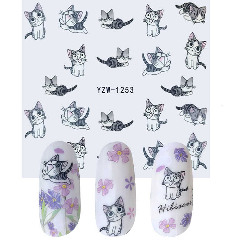 1 Sheet Water Transfer Nail Stickers Cute Cartoon Kitten Foil Art Nails Sticker Zipper Bow Flower Nail Applique Jewelry