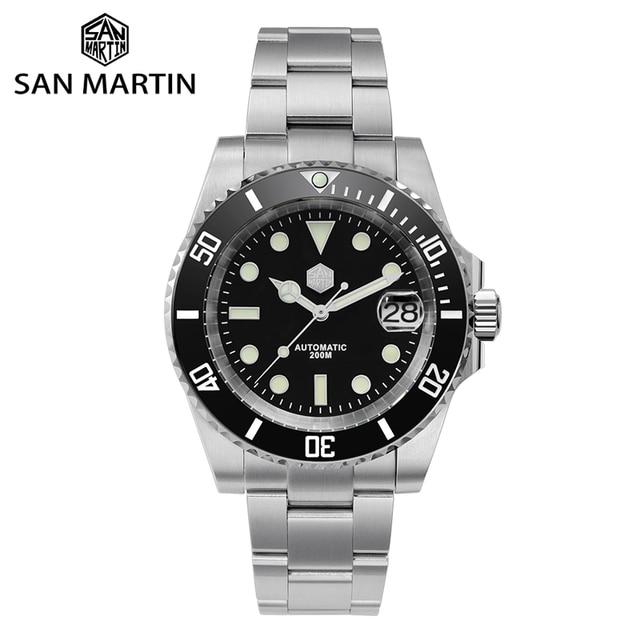 San Martin Diver Water Ghost Luxury Sapphire Crystal Men Automatic Mechanical Watches Ceramic Bezel 20Bar Luminous Date Window 1