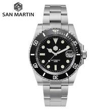 SAN MARTIN − Montres mécaniques en céramique pour hommes, pour plongeurs, en verre de saphir, lunette de luxe, profondeur 20 bar, lumineuse, fenêtre de date