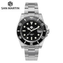 San Martin Diver Water Ghost Luxury Sapphire Crystal Men Automatic Mechanical Watches Ceramic Bezel 20Bar Luminous Date Window