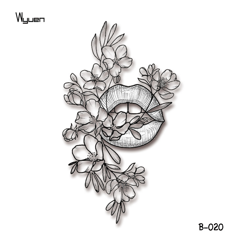 Wyuen Original Sexy Woman Fake Tattoos Mouth Flower Temporary Tattoo Stickers For Adults Body Art  Waterproof Tatoo B-020