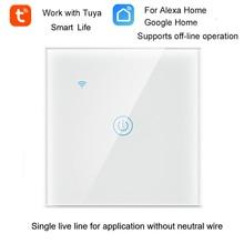 Tuya inteligentny zegarek wi fi przełącznik ścienny WiFi pojedyncza linia na żywo do aplikacji bez przewodu neutralnego