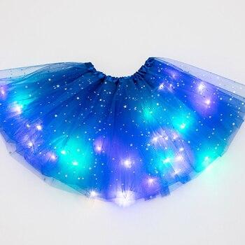 Балетная Мода для девочек, волшебный светильник вечерние фатиновая юбка-пачка со звездами и блестками, детская одежда, пышная блестящая юбк...