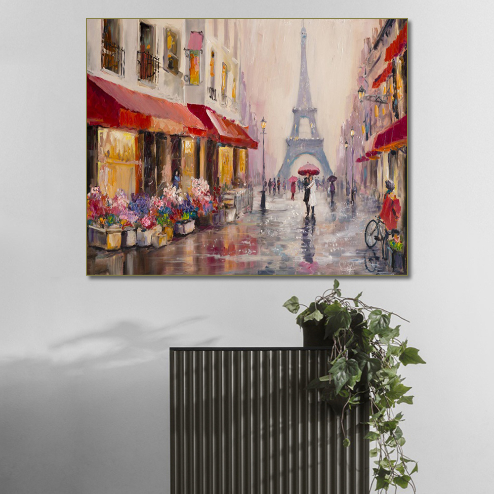 Nordic Romantic Paris Landscape Wall Art Canvas Painting Calligraphy Abstract Street Couple Poster Wall Pictures For Living Room