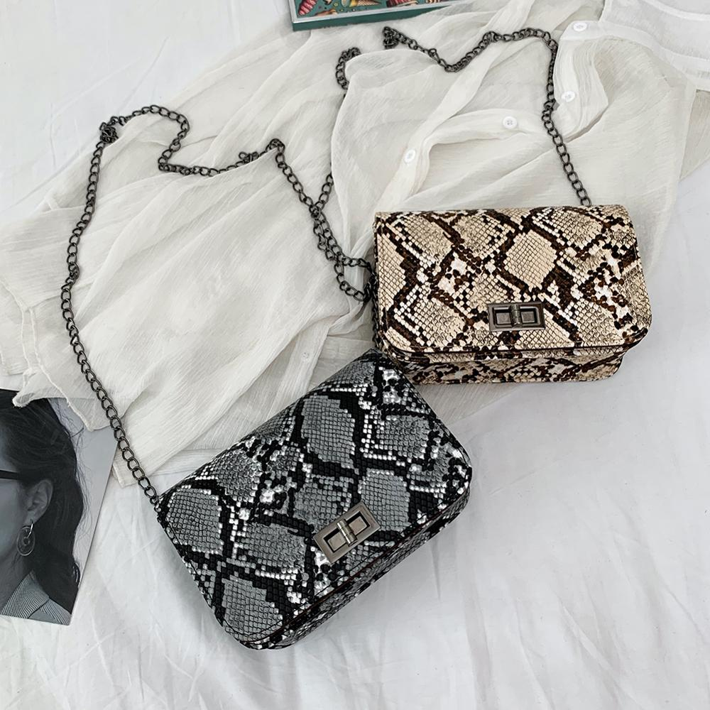 Luxury Handbags Women Bag Designer Serpentine Small Square Crossbody Bags Bolsas Wild Girls Snake Print Shoulder Messenger Bag