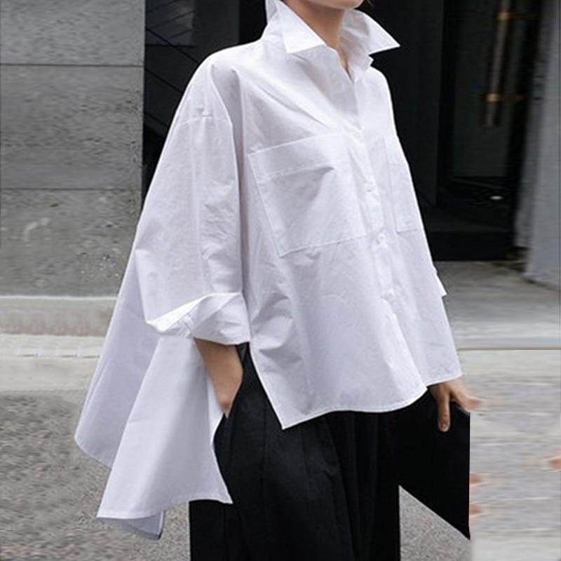 Asymmetrical Tunic Women Party Tops Blouse Lapel Neck Shirts VONDA 2020 Spring Summer Beach Tops Female Casual Blusa Plus Size