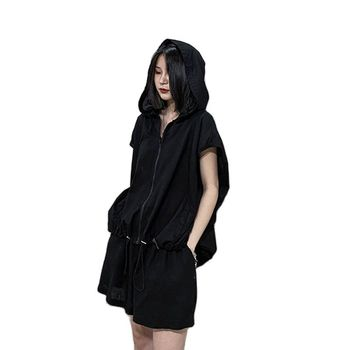 Fashion Women's Clothing 2021 Large Size 150kg Female Summer Two Piece Set Women New Shorts Sweater Hooded Sports Leisure Suit 1