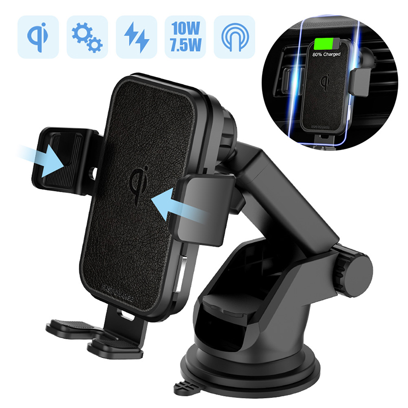 2 In 1 Fast Wireless Car Charger For Iphone XS Samsung S10 QI 10W Wireless Charger Car Air Vent Dashbord Mobile Phone Holder