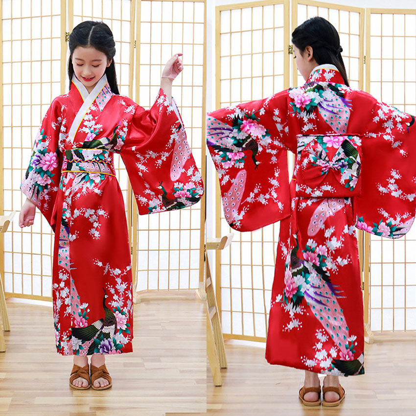 Kids Girls Novelty National Japan Kimono Traditional Yukata Dress Satin Silk Luxury Oriental Bath Robe With Obi Performance