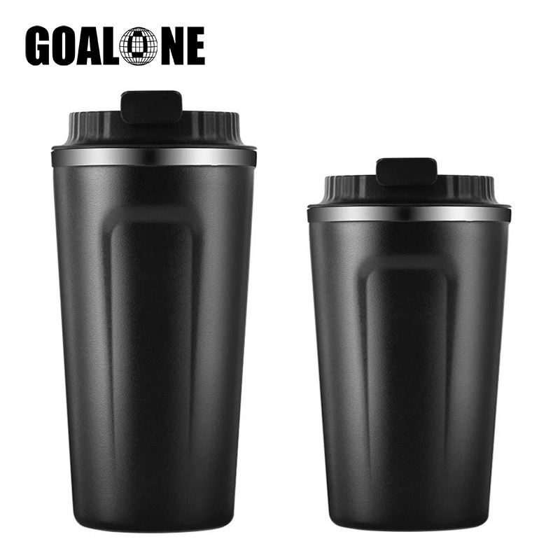 GOALONE 380/500ml Reusable Coffee Mug Double Wall Stainless Steel Mug Coffee Tumbler with Leakproof Lid Travel Coffee Thermo Mug