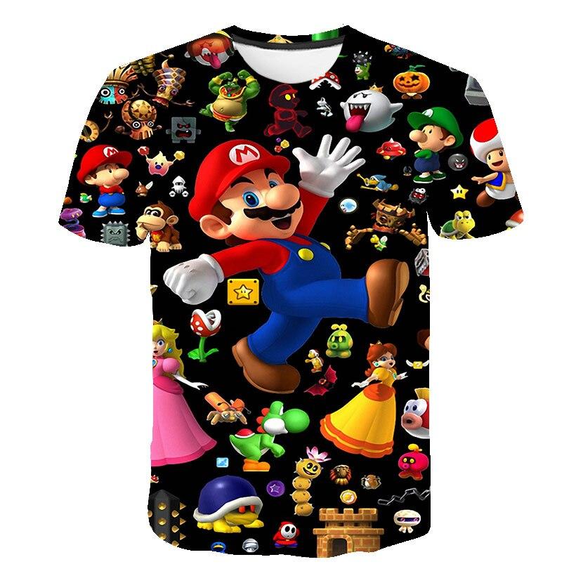2021 New summer cartoon 3D printing Super Mario O-neck T-shirt boy classic Shin Harajuku style street T-shirt