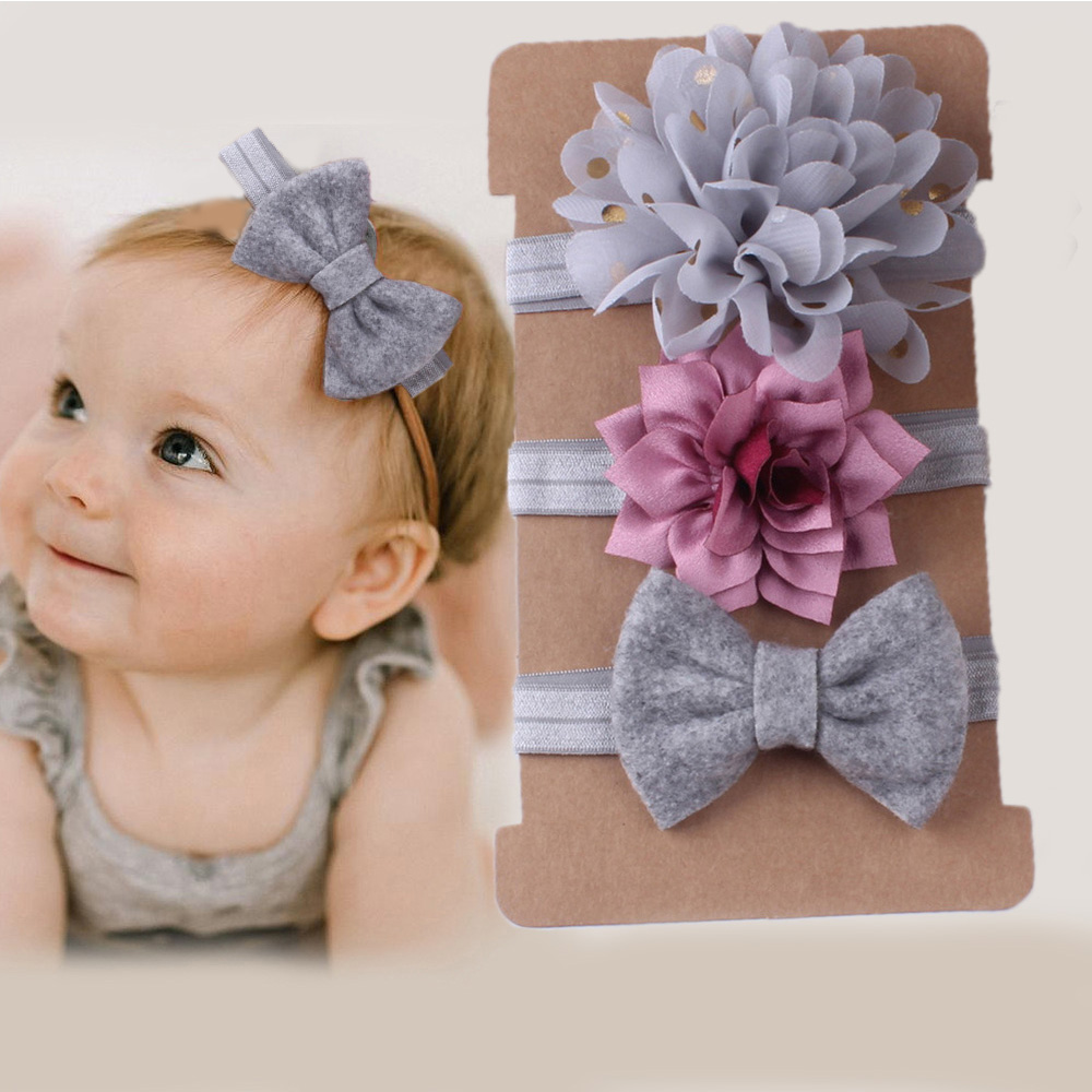 3Pcs/set Cute Bow Baby Headband For Girl Chiffon Flower Head Bands Turban Hairbands For Kids Baby Hair Accessories