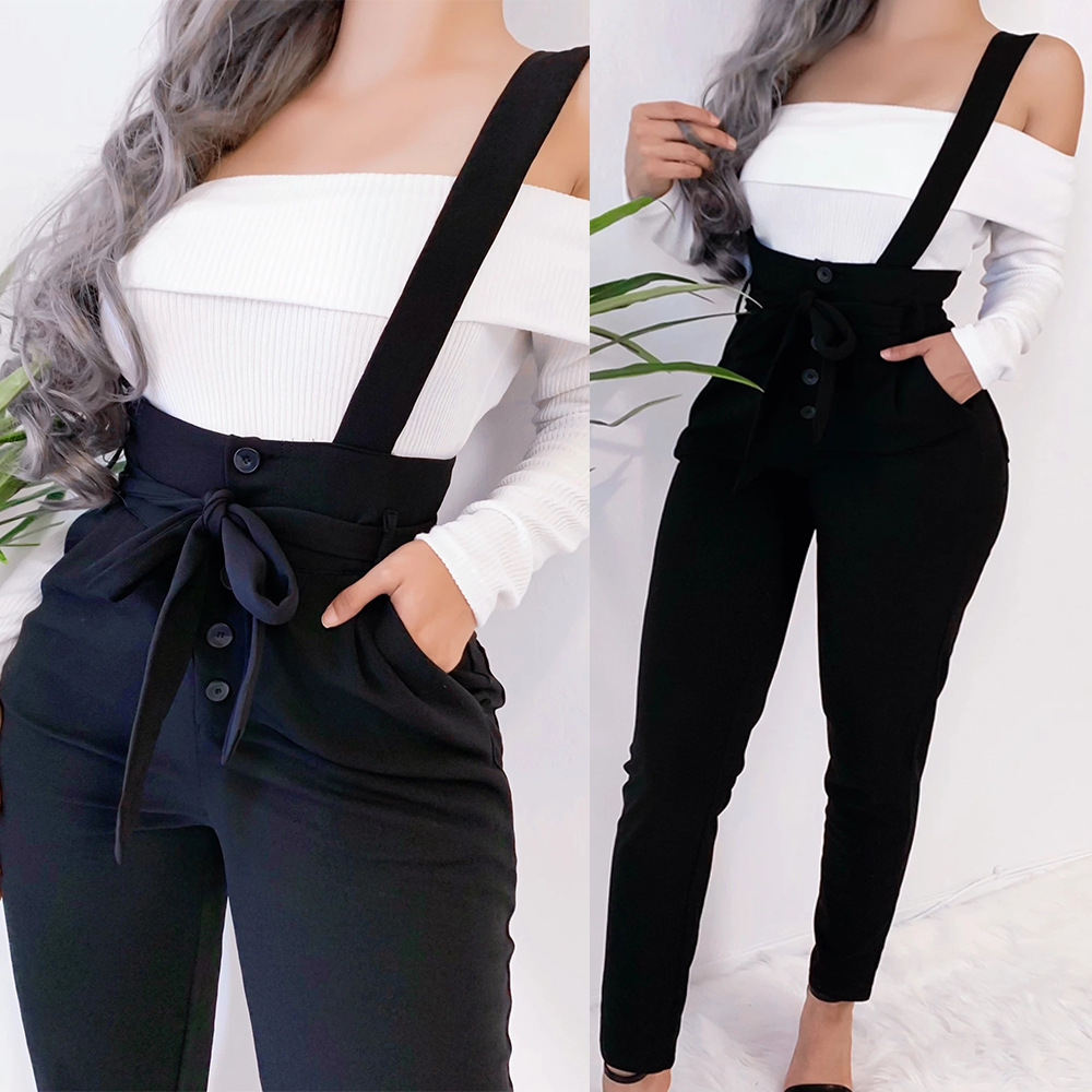 Women Black Long Pants Autumn Winter Streetwear Buttons Pockets Decor High Waist Pencil Pants Ladies Girdle Slim Hip Sling Pants