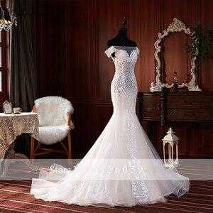 Image 3 - Elegante Spitze Appliques Meerjungfrau Hochzeit Kleider 2020 vestido de noiva Ärmellose Bodenlangen Weg Von der Schulter Brautkleider