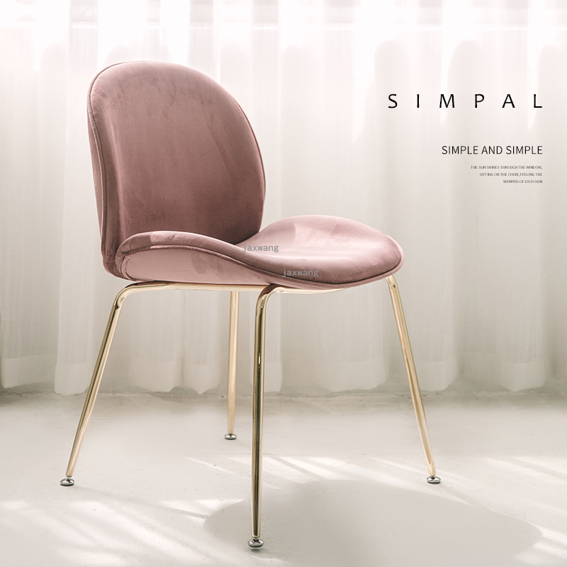 Nordic Light Luxury Dining Chair Simple Modern Dressing Chair Beetle Chair Back Home Bedroom Desk Chair Makeup Chair