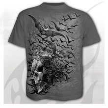 2021 new 3D printed T-shirt with skull head and birds flying horror pattern men's short-sleeved T-shirt fashion casual top