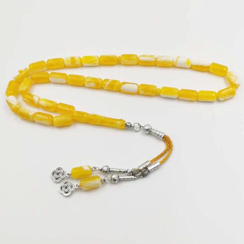 Yellow Resin Tasbih Muslim 33 prayer beads handmade Islamic bracelet gifts arabic Fashion jewelry accessories