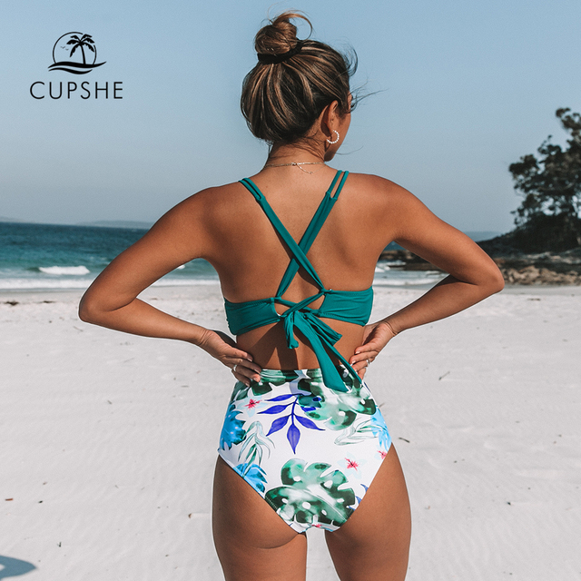 CUPSHE Tropical Palms Twist-Front High-Waisted Bikini Sexy Lace Up Swimsuit Two Pieces Swimwear Women 2020 Beach Bathing Suit 2