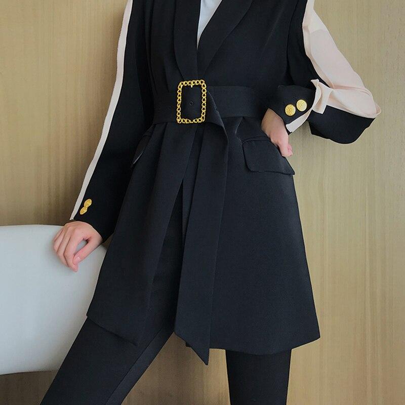 TWOTWINSTYLE elegante chaqueta de mujer cuello en V éxito de Color de retazos de manga túnica de encaje de otoño chaquetas largas de moda femenina 2019-in chaqueta de deporte from Ropa de mujer    2