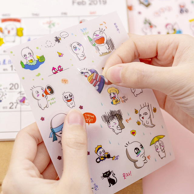 6PCS/Set DIY Cute Cartoon Animal Small Fresh Sticker  Hand Account Decals Cute Cat pattern  for Diary Mobile Phone Decoration