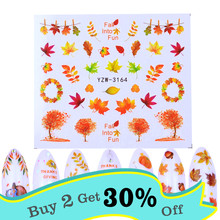 1pcs Autumn Nail Art Sets Maple Leaf Turkey Sticker Nail Decals Gold Water Sliders for Manicure Yellow DIY Designs(China)
