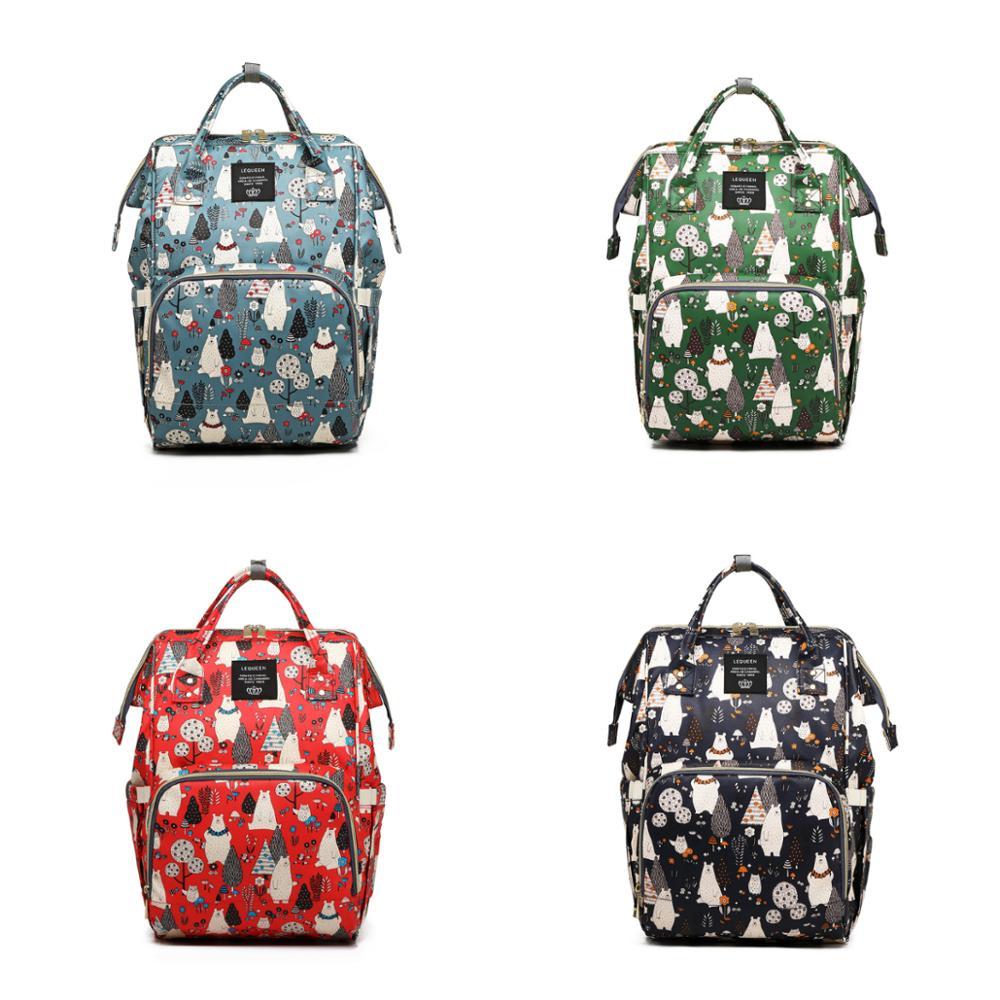Bear Print Waterproof Diaper Bag Large Capacity Diaper Bag Multifunction Diaper Backpack Fashion Mommy Backpack Travel Baby Care