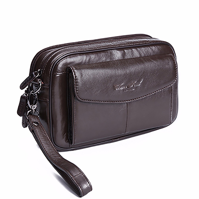 High Quality Men's Clutch Bag Genuine Leather Male Business Wallets Skin Zipper Clutch Purse Money Bag Mobile Phone Case Pouch