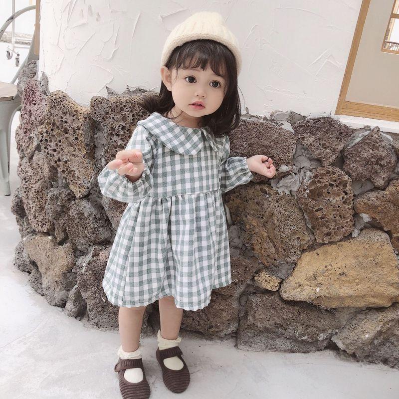 2019 girls Autumn long sleeve plaid dress children lapel dress