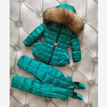 Russia Winter Children Hooded Warm Down Coat Kids Real Fur Collar Snow Wear Outerwear Down Jackets + Pants For Girls Boys Y3570