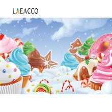 Laeacco Photo Backdrops Pink Ice Cream Candy Bar Lollipops Baby Party Cartoon Photographic Backgrounds Photocall Studio