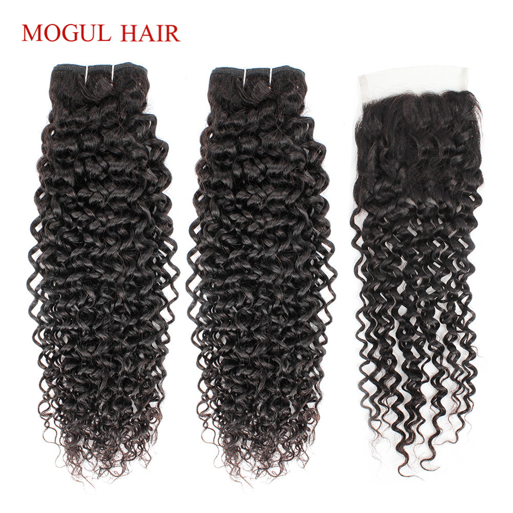 MOGUL HAIR Brazilian Jerry Curly Hair Bundles With Closure Natural Color 3/4 Bundles With Closure Non Remy Human Hair Extension