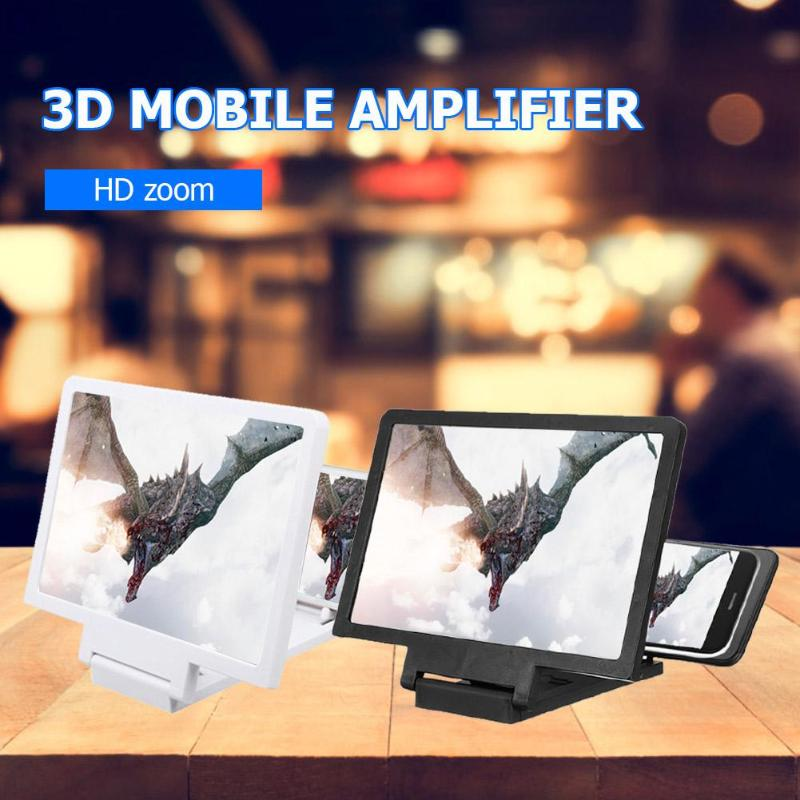 3DPhone Screen Magnifier Stereoscopic Amplifying Desktop Foldable Leather Bracket Mobile Phone Holder Tablet Holder dropshipping|Magnifiers| |  - title=