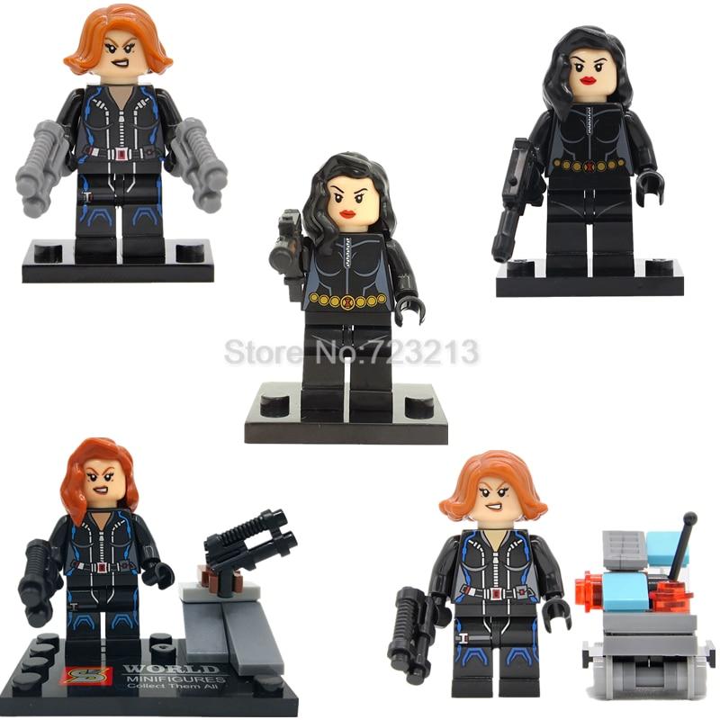 Single Black Widow The Avengers Super Hero Figure Heroine Natasha Romanoff Building Blocks Set Model Bricks Toy Legoing