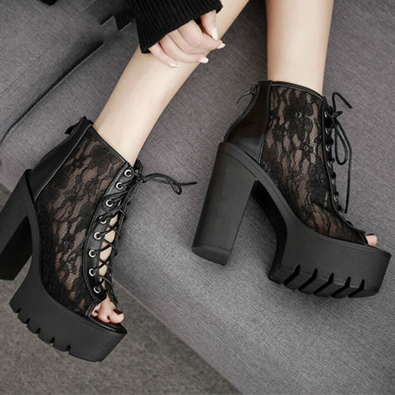 2019 Black White Platform Square Heels European And American Style High Lace Mouth Heel Sandals