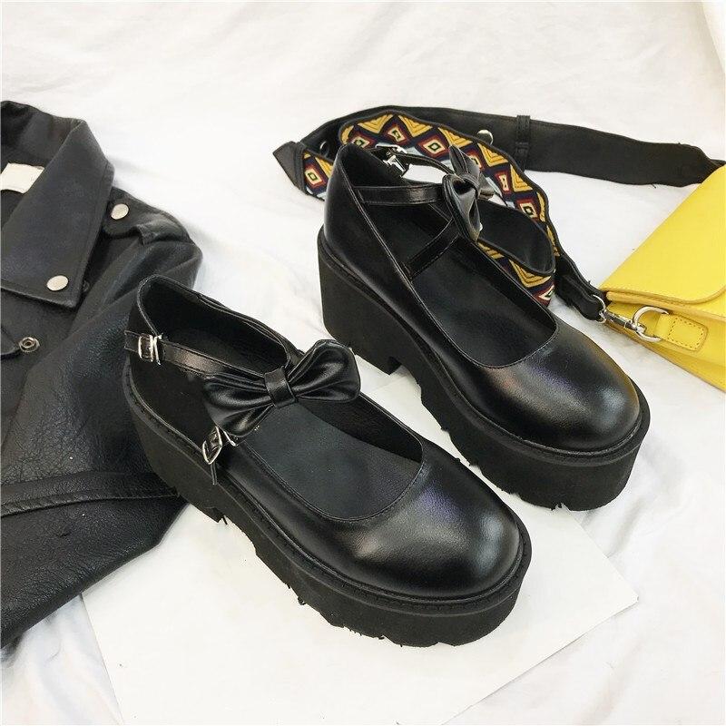 Image 5 - YMECHIC 2020 New Cross Strap Bowtie Harajuku Punk Party Lolita Mary Jane Ladies Shoes with High Heels Black Platform Women PumpsWomens Pumps   -