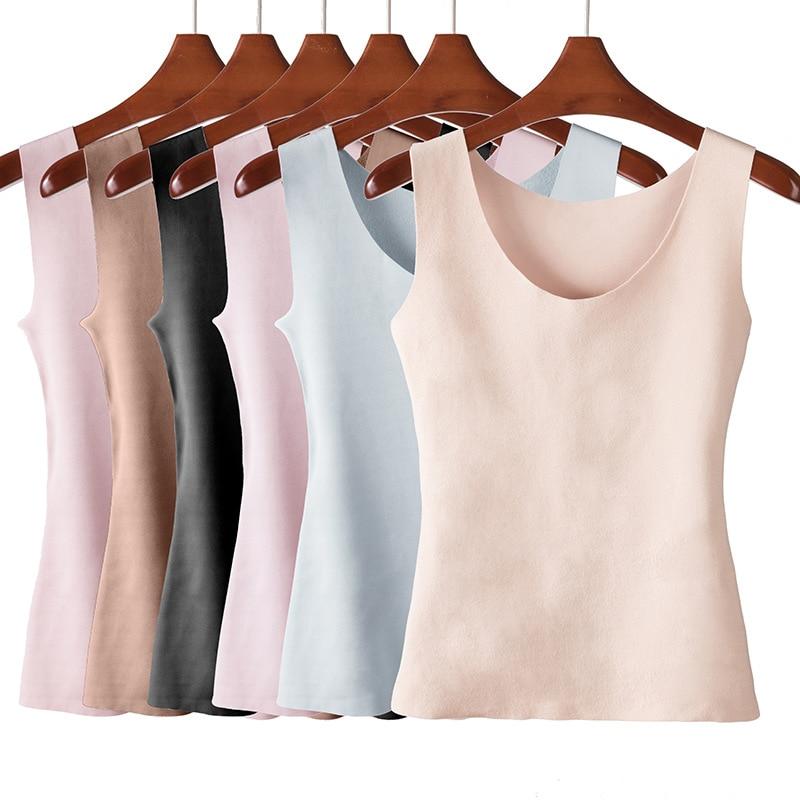 Thermal Underwear Warm Body Tops Vest Women Sleeveless Slim Seamless O Neck Prayger Spandex Solid Standard 1030
