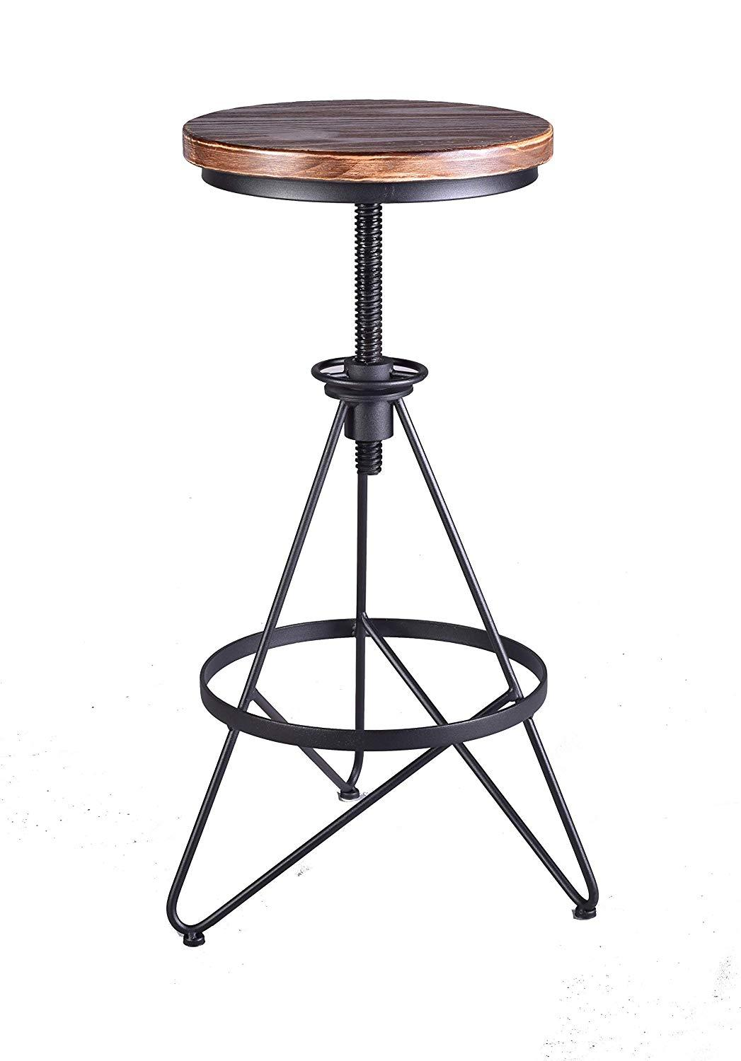 Vintage Industrial Adjustable Height Swivel Bar Stools Counter Pub Height Stools Bar Chairs