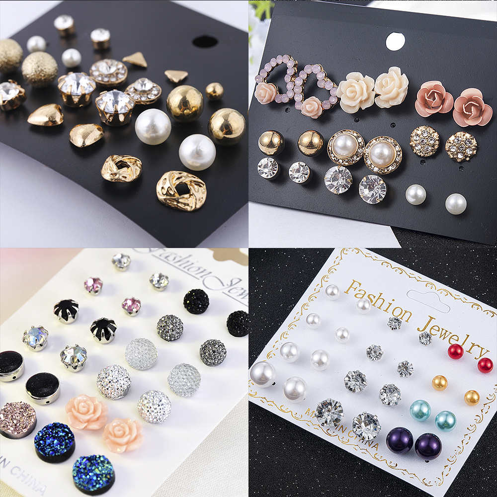 2019 Crystal Simulated Pearl Earrings Set Women Jewelry Accessories Piercing Ball Stud Earring Kit Bijouteria Brincos Wholesale(China)