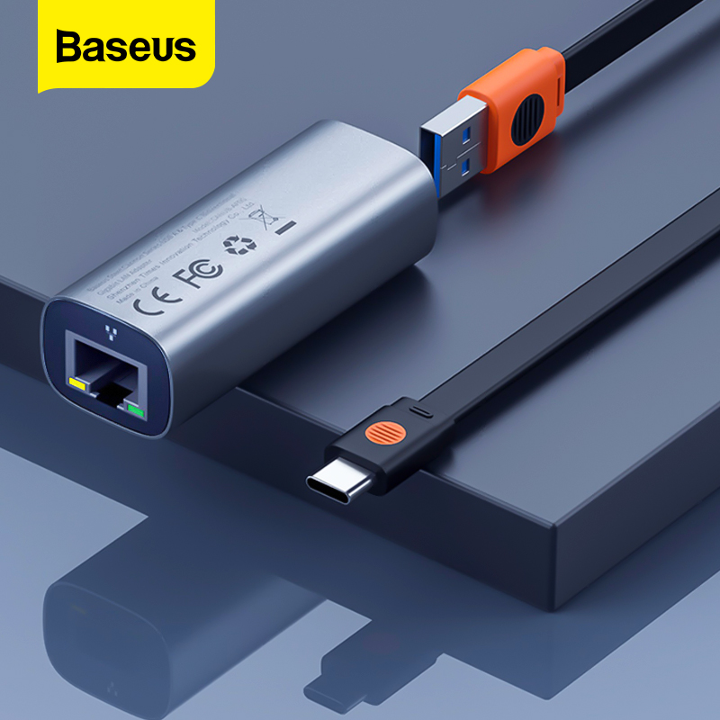 Baseus 2 in 1 USB Ethernet USB 3 0 2 0 to RJ45 HUB For Xiaomi Mi Box USB-C to RJ45 Lan Adapter for MacBook iPad Pro Ethernet