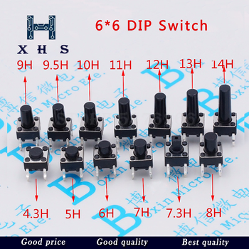 100pcs/lot Touch Key Micro Switch 6 * 6 * 4.3/5/6/7/8/9/10/11/12/13 MM Button 4 pin vertical DIP sets image