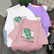 Vrouwen O-hals Dinosaurus Print Losse T-shirt Unisex Zachte Casual Vrouwelijke Tops 2020 Zomer Streetwear Casual T-shirts Paar(China)