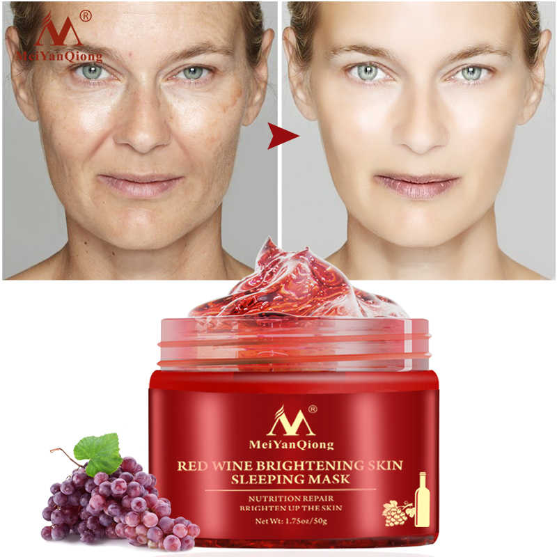 Vino rosso Essenza Dormire Maschera Facciale Sbiancamento Maschera Nutriente Idratante riparazione Nutrizione illuminare la pelle Gel Notte